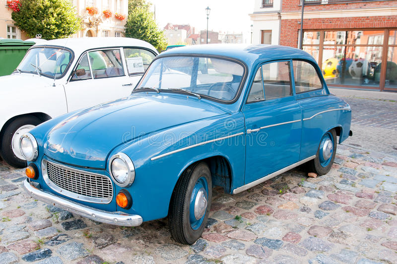 Old car. Model 104 FSO Syrena was produced in the years 1966-1972. It uses a new three-cylinder engine S-31 with a capacity of 842 cc and a maximum power of 40 royalty free stock photos