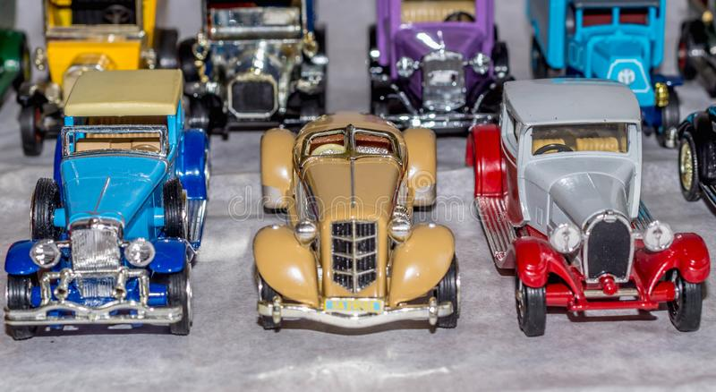 Old car model. replica of vintage car. collectible toys. Shallow depth of field stock photo