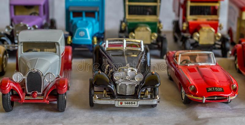 Old car model. replica of vintage car. collectible toys. Shallow depth of field stock images