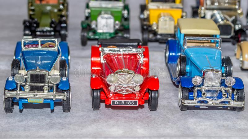 Old car model. replica of vintage car. collectible toys. Shallow depth of field royalty free stock photography
