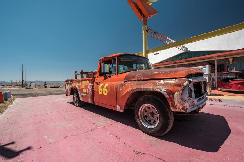 Old car near historic route 66 in California stock photos