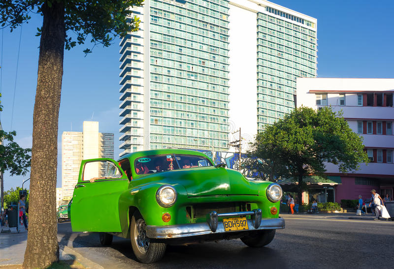 Old car in the neighborhood of El Vedado in Havana royalty free stock image