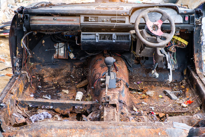 old car ready to be scrapped stock image