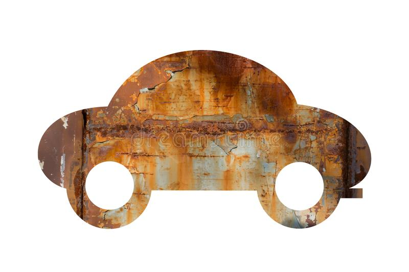 Old car is rusty and corroded vector illustration