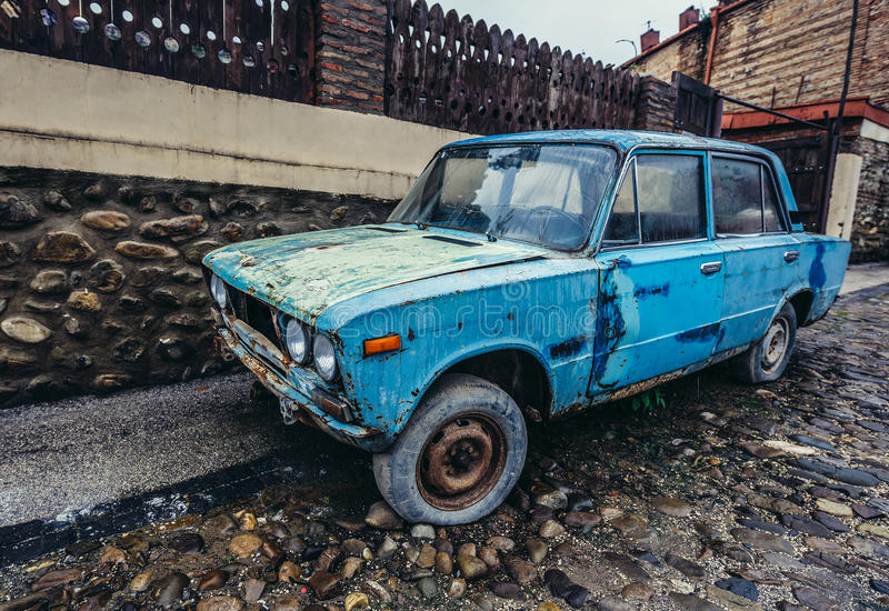 Old car in Sighnaghi. Sighnaghi, Georgia - April 24, 2015. Lada 1600 car in Sighnaghi, small town in Kakheti district royalty free stock image