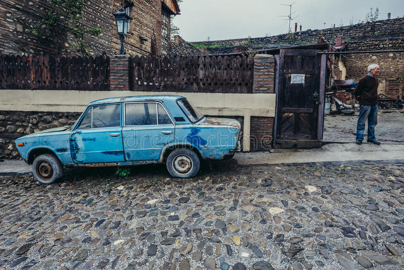 Old car in Sighnaghi. Sighnaghi, Georgia - April 24, 2015. Lada 1600 car in Sighnaghi, small town in Kakheti district stock photos