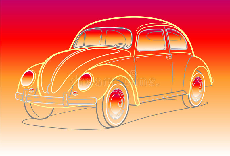 Old car in sunset colors stock illustration