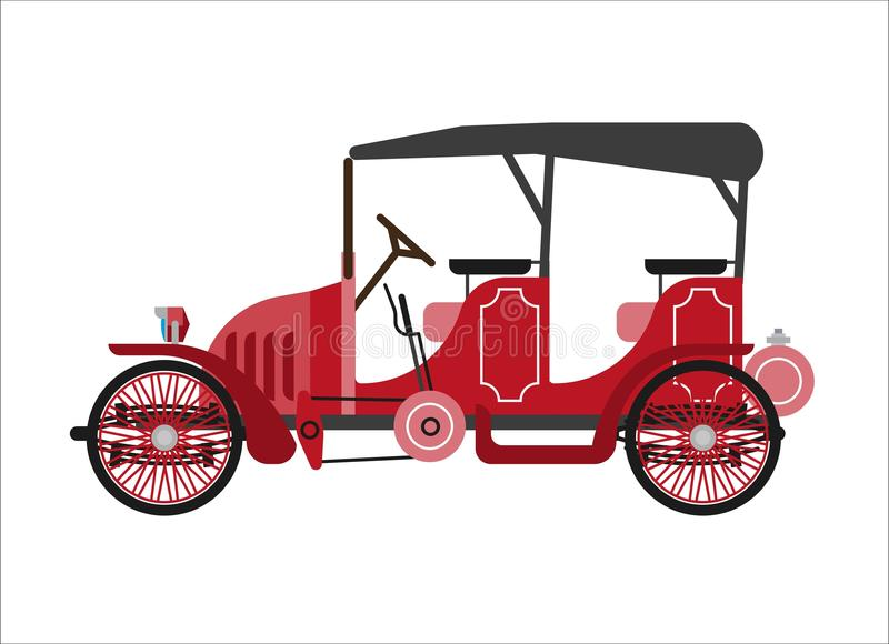 Old car or vintage retro collector coach cab wehicle vector flat icon stock illustration