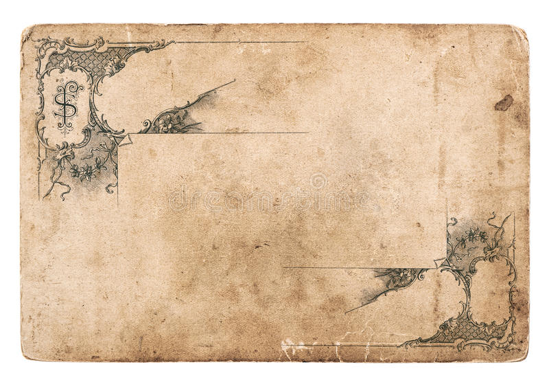 Old cardboard with antique pattern isolated. On white. vintage grunge paper background stock photography