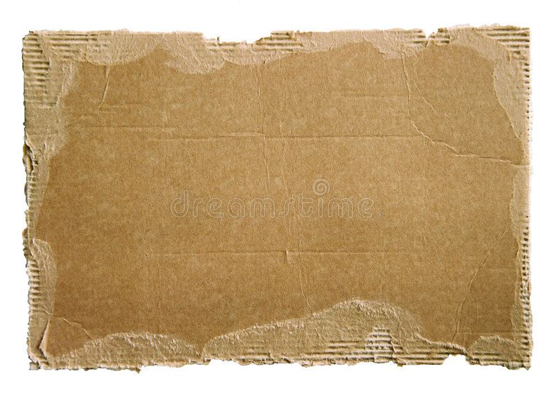Old cardboard scrap on white stock images