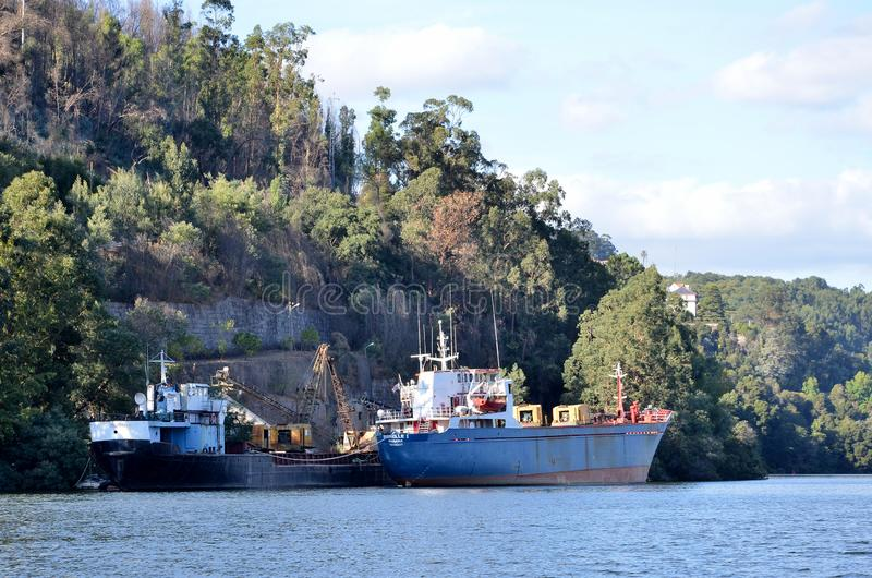 Cargo boats in river Douro royalty free stock image