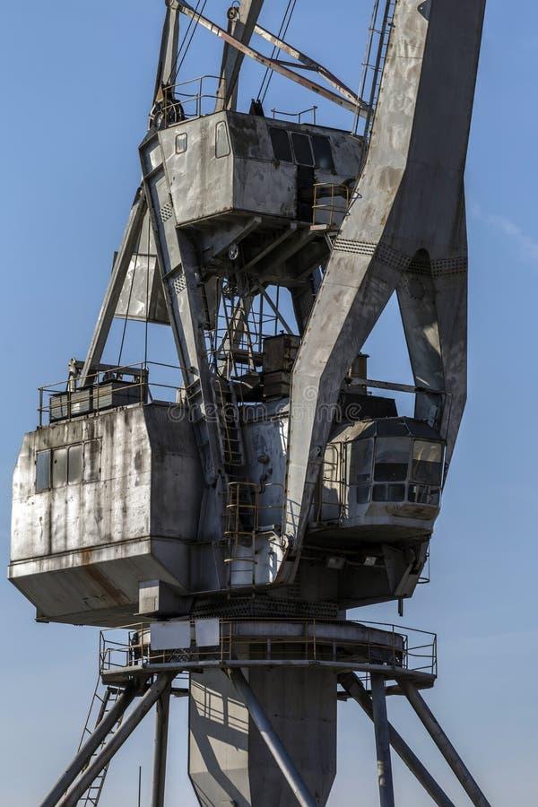 Old cargo crane on the Danube bank. In Komarno, Slovakia stock photos