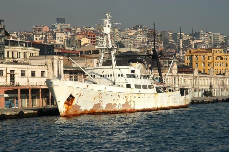 Old cargo ship stock photography