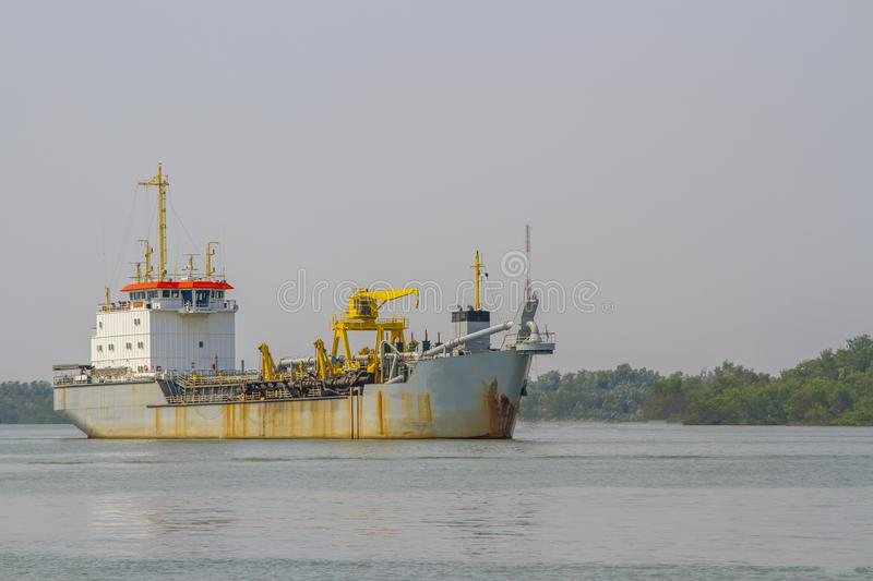 Old cargo ship or ferry on the sea royalty free stock images