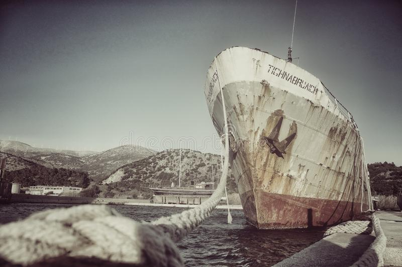 Old Cargo ship at the harbor stock image