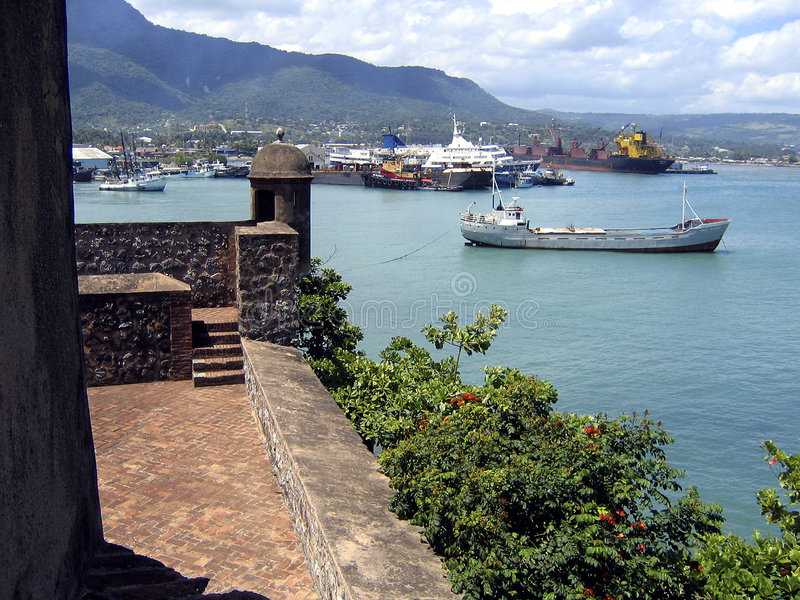 Download Old Caribbean Fort And Puerto Plata Port Stock Image - Image: 199085