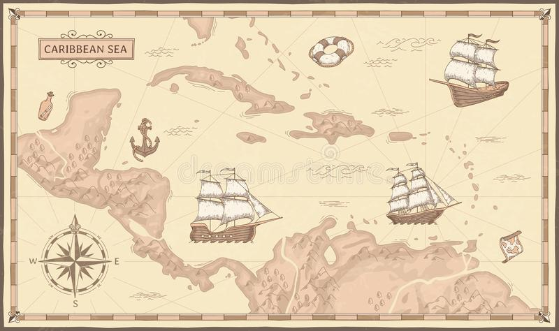 Old caribbean sea map. Ancient pirate routes, fantasy sea pirates ships and vintage pirate maps vector concept. Old caribbean sea map. Ancient pirate routes vector illustration