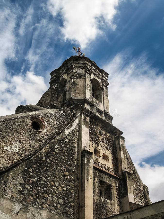 Old Carmelite Convent, Mexico City. Bell-tower of the Old Carmelite Convent in Desierto de los Leones (Desert of the lions) National Park stock image