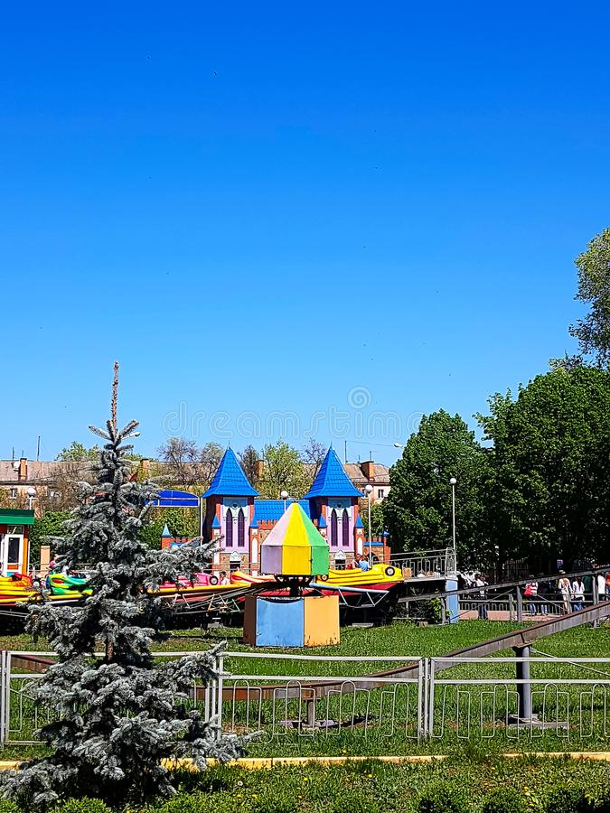 Old carousel as attractions in the city amusement park. In city Kirovograd Kropyvnytskyi Ukraine royalty free stock images