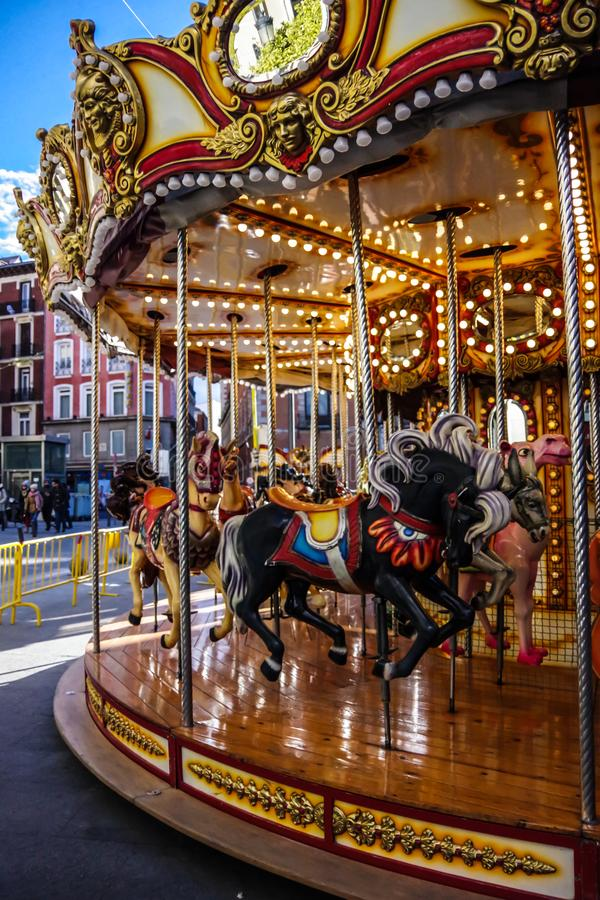 Old Carousel in Madrid, Spain stock images