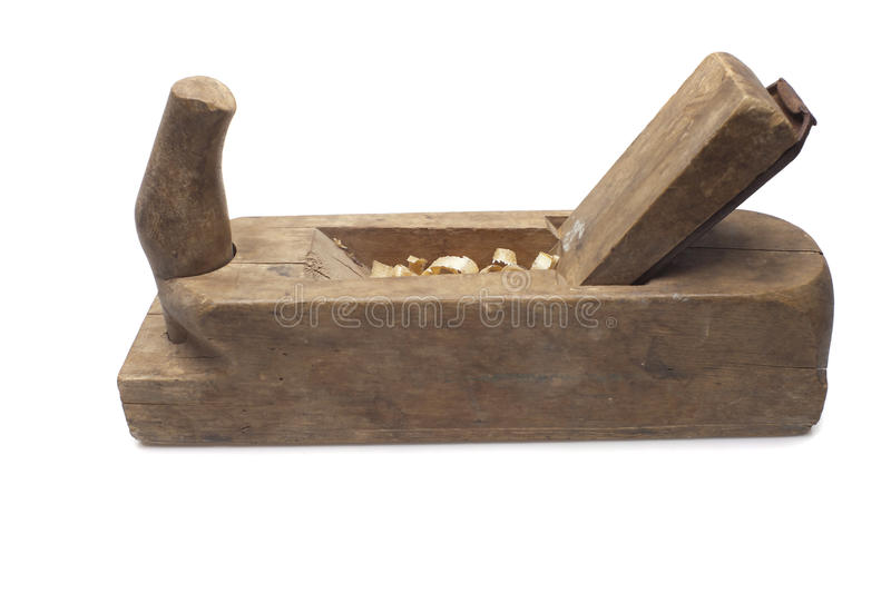 Old carpenter's wood planer. Isolated on a white background royalty free stock images