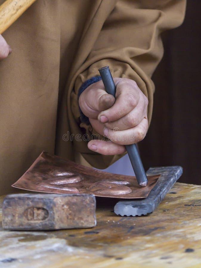 Old carpenter at work stock photos