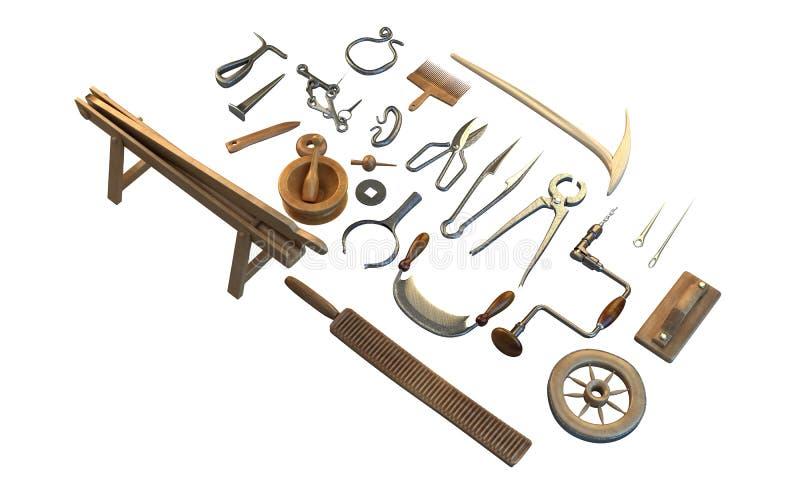 Old carpenter workshop with vintage tools,3d illustration. Isolated vector illustration