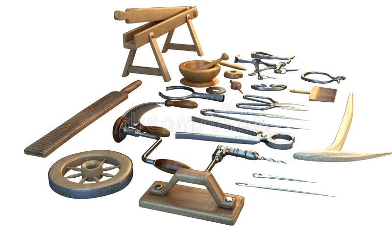 Old carpenter workshop with vintage tools,3d illustration. Isolated royalty free illustration