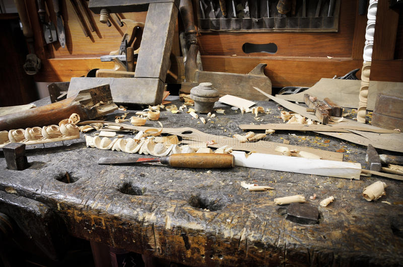 Old carpentry. Woodworking tools of antique carpentry stock photo