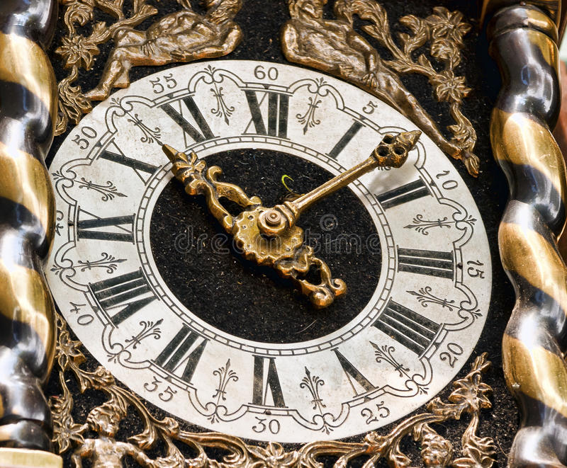 OLD CARRIAGE CLOCK. Old antique carriage clock with roman numerals stock photo