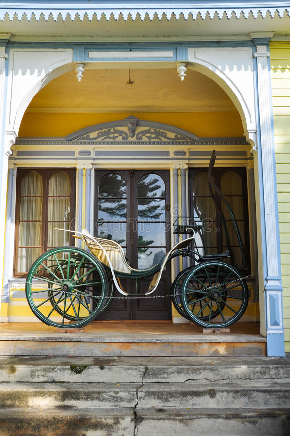 Old carriage at Historical German Museum of Valdivia, Chile.  stock photos