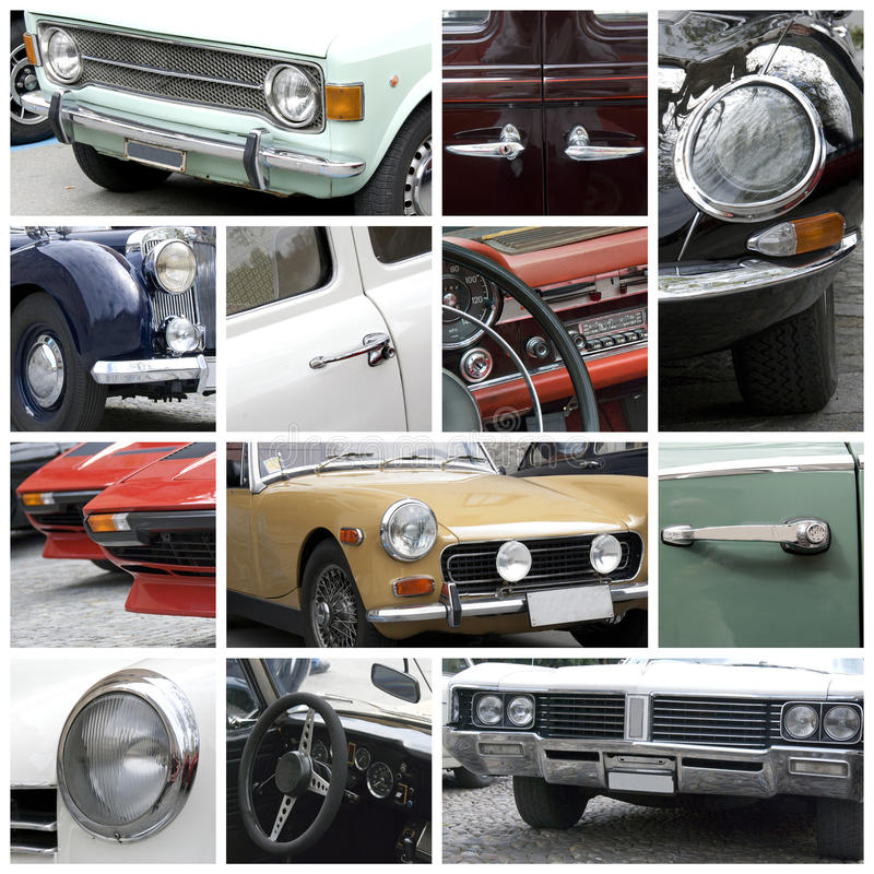 Old cars collage. A collection of photos of old and vintage cars detail - collage royalty free stock image