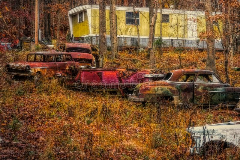 Old Cars on Hillside royalty free stock photos