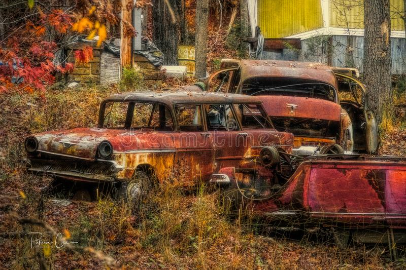 Old Cars on Hillside royalty free stock images