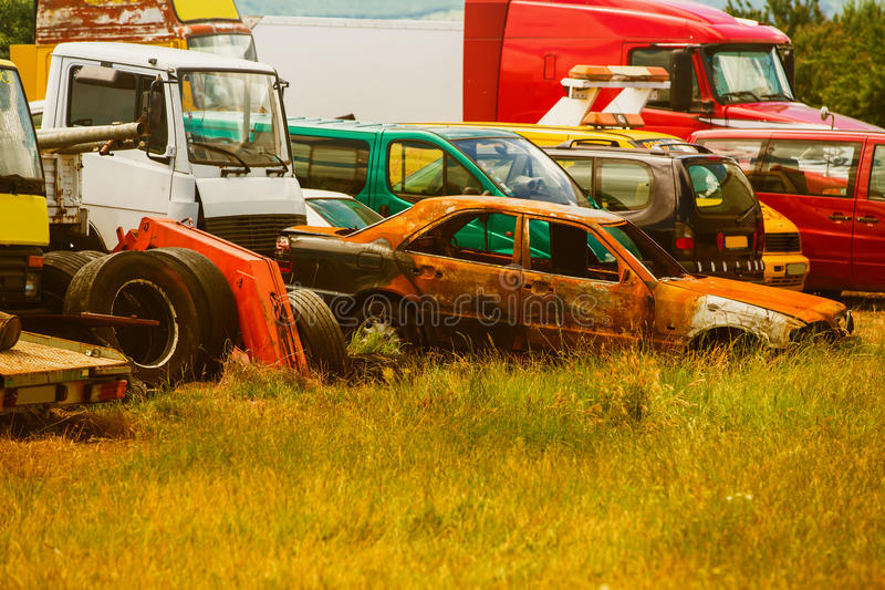 Old cars on junkyard stock photography