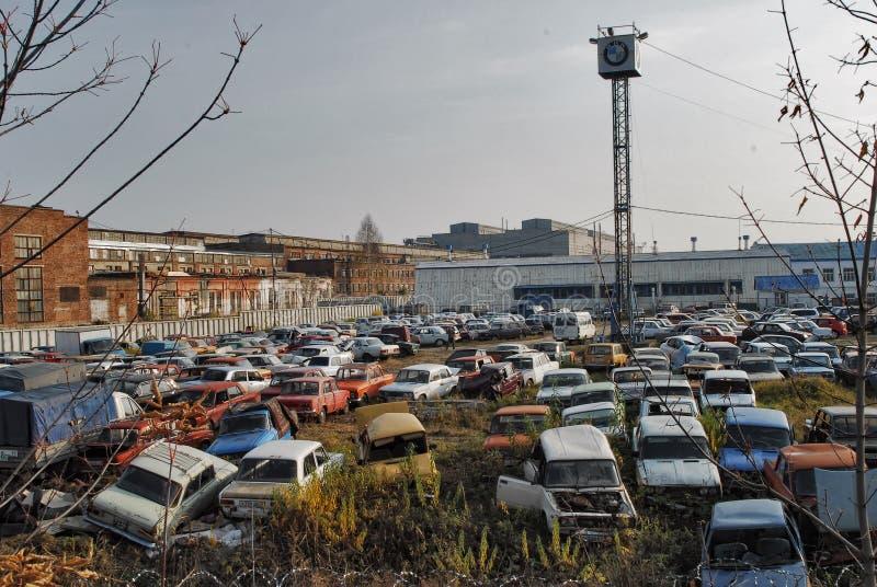 Old cars on junkyard royalty free stock photo