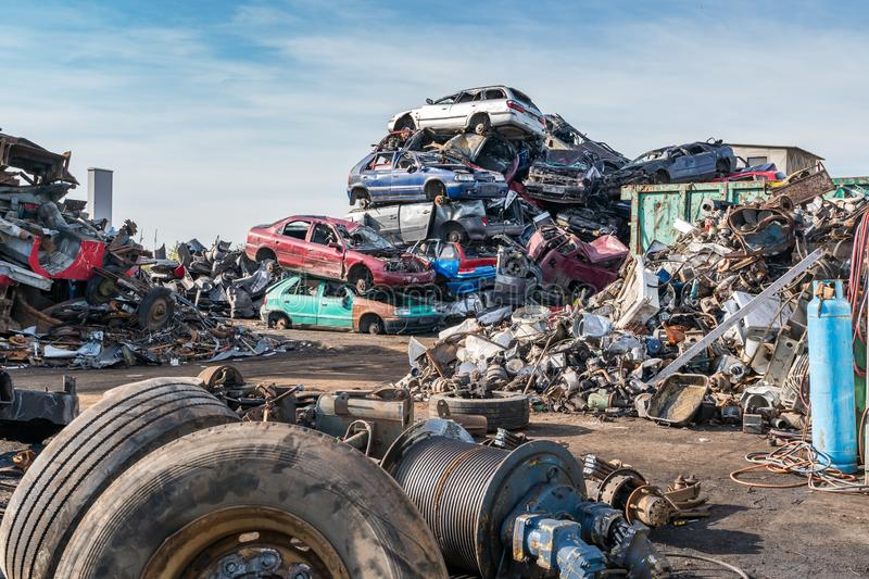 Old cars in landfill. Garbage pile in trash dump or landfill. Pollution concept. royalty free stock photos