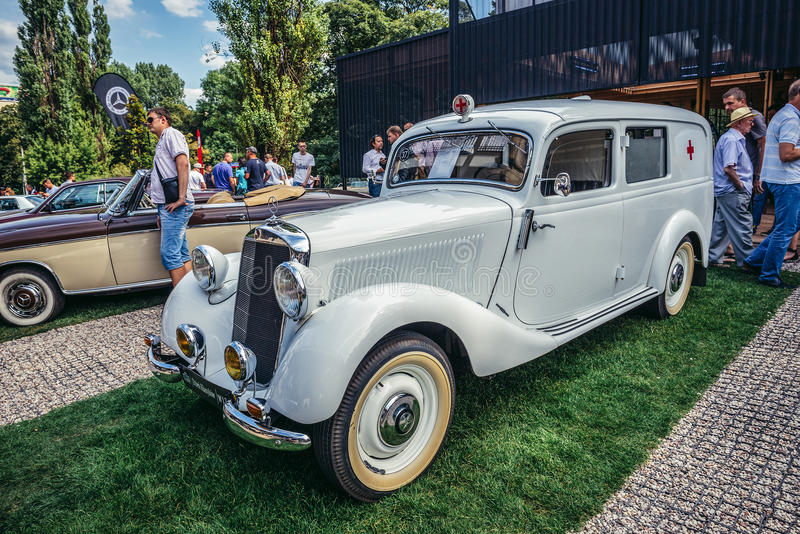 Old cars show. Warsaw, Poland - August 2, 2015: Mercedes W136 170 V ambulance from 1950 during retro cars show in Warsaw royalty free stock image