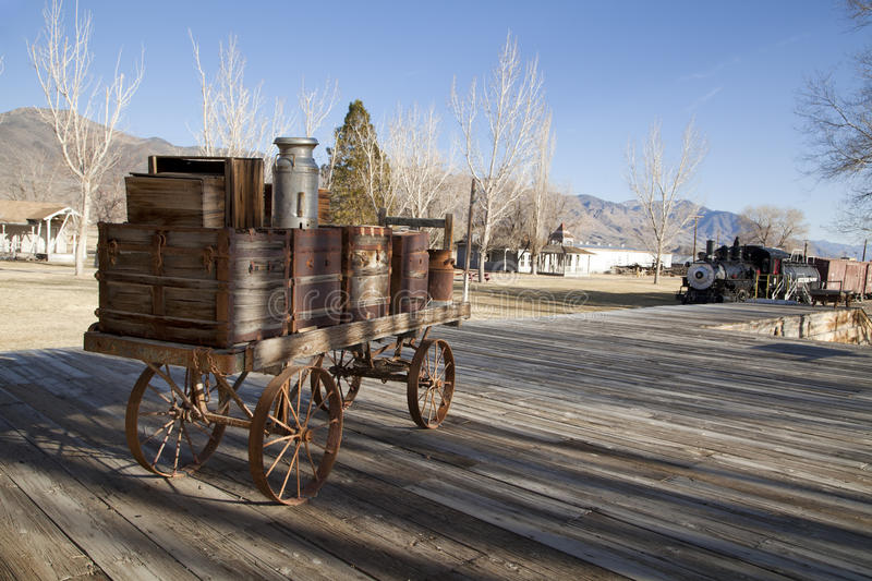 Old Cart on Railroad Platform. An old cart at Laws Railroad Museum in Bishop, California royalty free stock photo