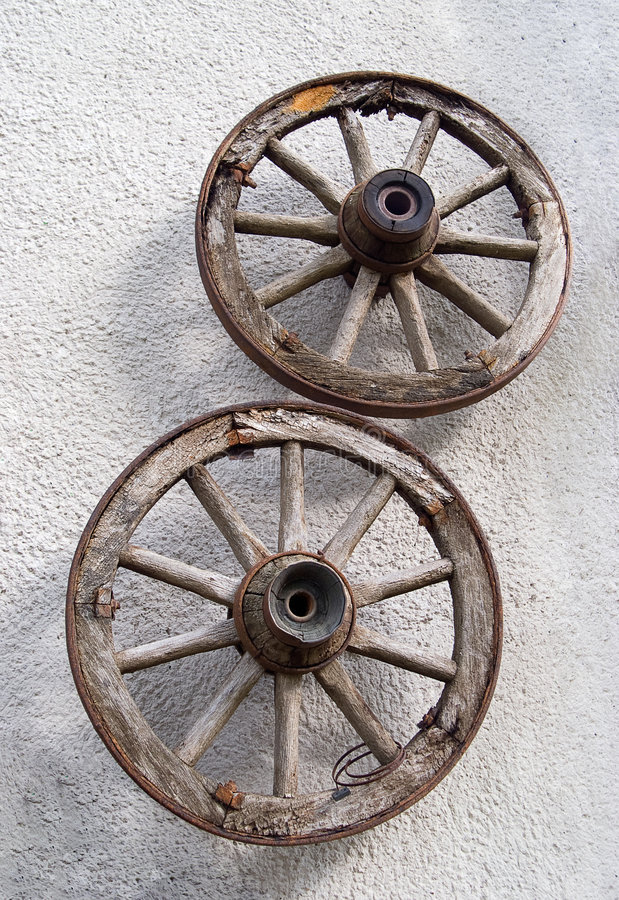 Old cart wheels royalty free stock images