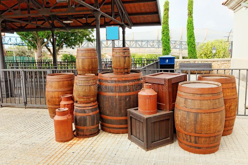 Old cart with wine barrels. Old street with wine barrels.Wild West royalty free stock photography