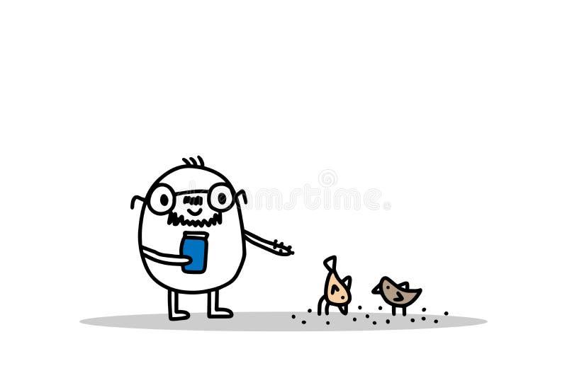 Old cartoon man feeding birds hand drawn vector illustration. Simple style vector illustration