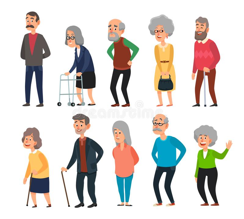Old cartoon seniors. Aged people, wrinkled senior grandfather and walking grandmother with gray hair isolated. Old cartoon seniors. Aged people, wrinkled senior royalty free illustration