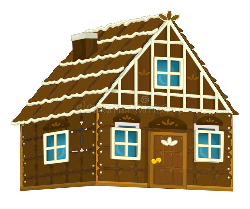 Old cartoon wooden candy house with chocolate elements - isolated vector illustration