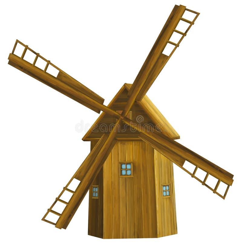 Old cartoon wooden windmill - - illustration for children stock illustration