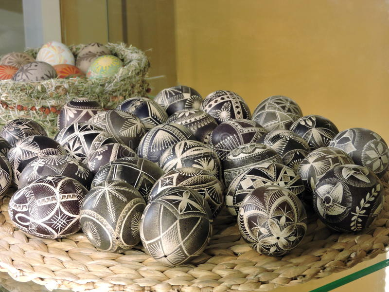 Old carved Easter eggs, Lithuania stock photo