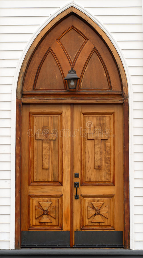Free Old Carved Wooden Church Door With Lantern Stock Photos - 4926463