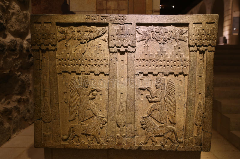 Old Carving in Museum of Anatolian Civilizations, Ankara. Turkey stock photography