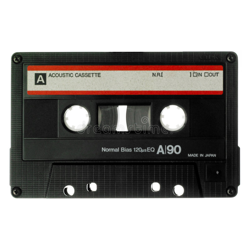 Old cassette isolated on white stock photos