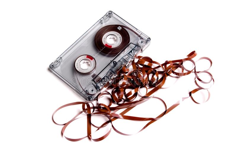Old cassette music and box. royalty free stock photography